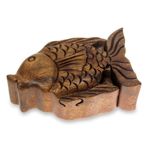 Hand Carved Wood Fish Puzzle Box from Bali 'Pacific Fish'