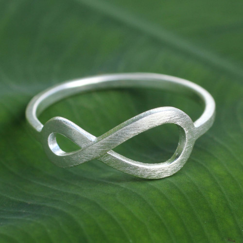 Women's Brushed Sterling Silver Infinity Symbol Ring 'Into Infinity'