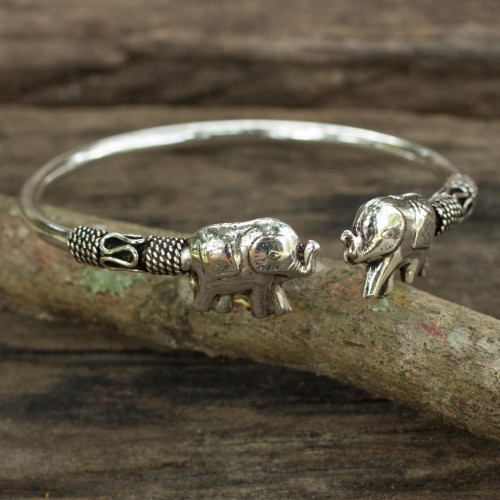 Artisan Crafted Sterling Silver Elephant Cuff Bracelet 'Proud Elephant'