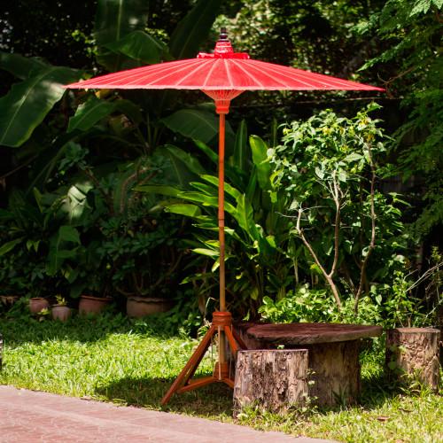 Bright Red Decorative Outdoor Umbrella from Thailand 'Happy Garden in Scarlet'