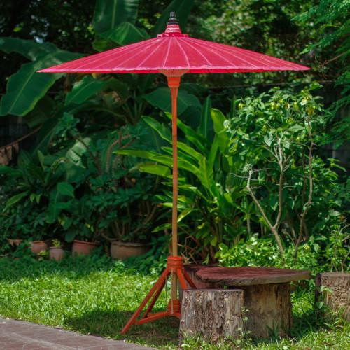 Bamboo and Cotton Handmade Red Garden Umbrella 'Happy Garden in Crimson'