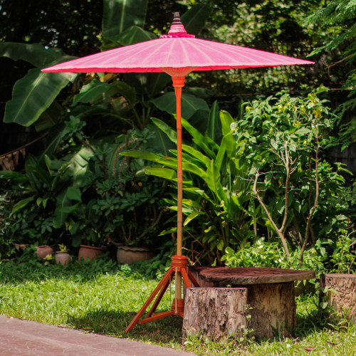 Pink Garden Umbrella Crafted from Cotton and Bamboo 'Happy Garden in Pink'