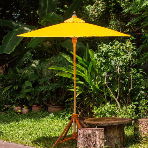 Yellow Cotton Garden Umbrella Handmade in Thailand 'Happy Garden in Yellow'