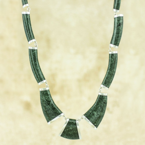 Dark Green Jade Necklace Handcrafted with Sterling Silver 'Queen K'abel'