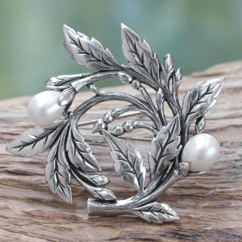Artisan Handcrafted Pearl Brooch Pin from Bali 'Budding Cotton'