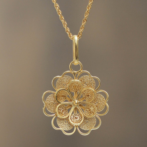 Gold Plated Silver Peruvian Filigree Flower Necklace 'Yellow Rose'