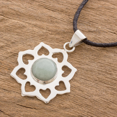 Handmade Green Jade and Silver Necklace with Cotton Cord 'Apple Blossom'