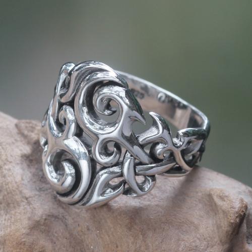 Sterling Silver Men's Ring Handmade in Bali 'Labyrinth'