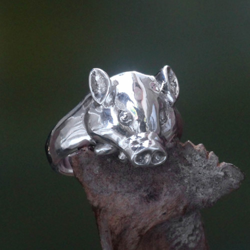 Artisan Handcrafted Men's Sterling Silver Pig Ring 'Tusked Pig'