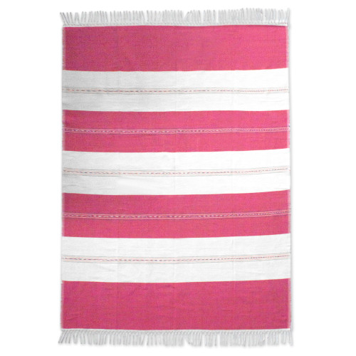 Hand Loomed Zapotec Cotton Pink and Beige Tablecloth 'Sweet Oaxaca'