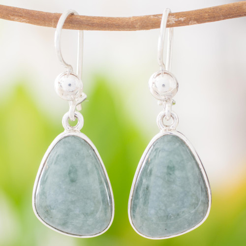Handcrafted Sterling Silver Forest Green Jade Earrings 'Forest Green'