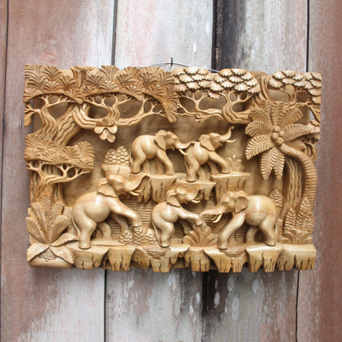 Fair Trade Handcrafted Elephant Wall Relief Panel 'Jungle Frolic'