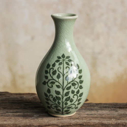 Handmade Small Green Celadon Ceramic Bud Vase 'Bodhi Tree'
