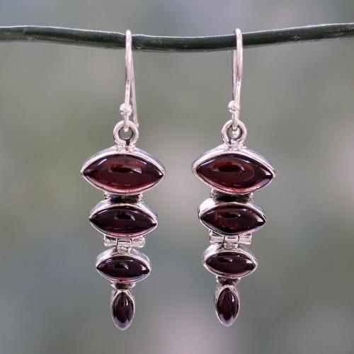 Garnet Cabochon Dangle Earrings Set in Sterling Silver 'Romantic Quartet'