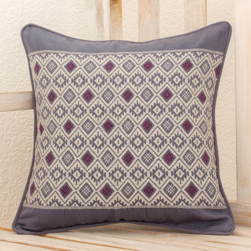 Maya Loom Woven Cotton Cushion Cover in Grey and Lilac 'Silver Moon'