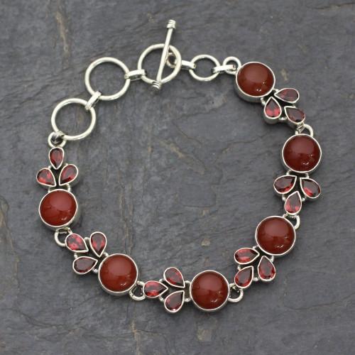Natural Carnelian and Garnet Gemstone Link Bracelet 'Romantic Glow'