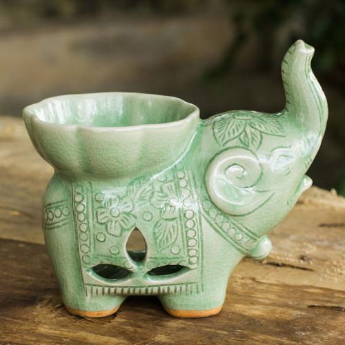 Handmade Light Green Celadon Ceramic Elephant Oil Warmer 'Time to Relax'