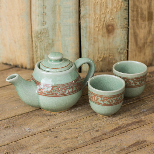 Artisan Crafted Green and Brown Celadon Tea Set Set for 2 'Lanna Enchanted'
