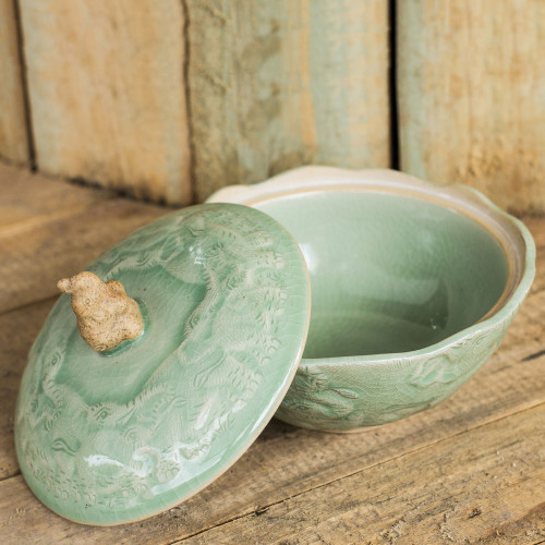 Handcrafted Green Ceramic Bowl and Lid with Elephant Motif 'Sawasdee'