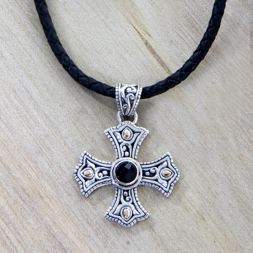Men's 18k Gold Accented Silver Cross Necklace with Onyx 'Enlightenment'