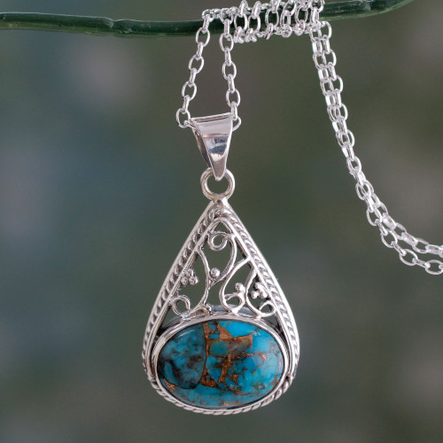 Sterling Silver and Composite Turquoise Pendant Necklace 'Divine Sky'