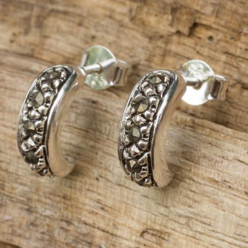 Sterling Silver Half Hoop Earrings Crafted with Marcasite 'Dew'