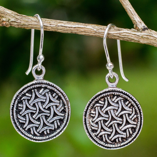 Artisan Crafted Sterling Silver Hook Earrings from Thailand 'Gothic Weave'
