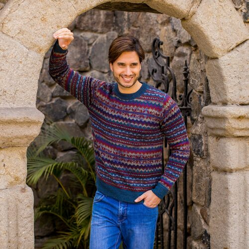 Patterned Blue and Burgundy Alpaca Men's Knit Sweater 'Colca Canyon'
