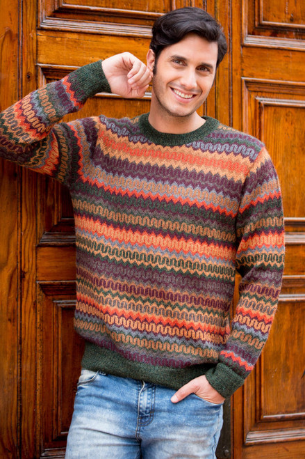 Multicolor Alpaca Men's Sweater with Forest Green 'Andean Homeland'