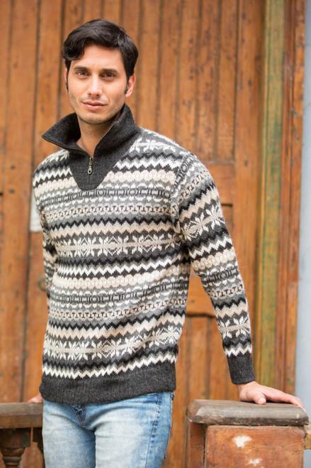 Grey and Ivory Men's Alpaca Sweater with a Zipper Turtleneck 'Huascaran Explorer'