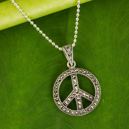 Sterling Silver 925 and Marcasite Peace Sign Necklace 'The Peace Sign'