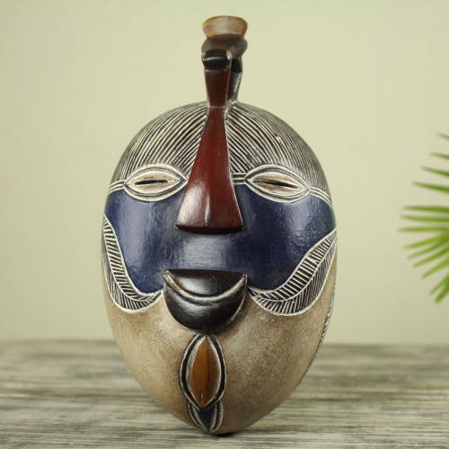 Handmade Congolese Wood Wall Mask with Bird Accent 'Songye Kifwebe'