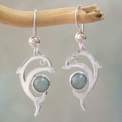 Handmade Silver Dolphin Earrings with Light Green Maya Jade 'Pale Green Dolphin'