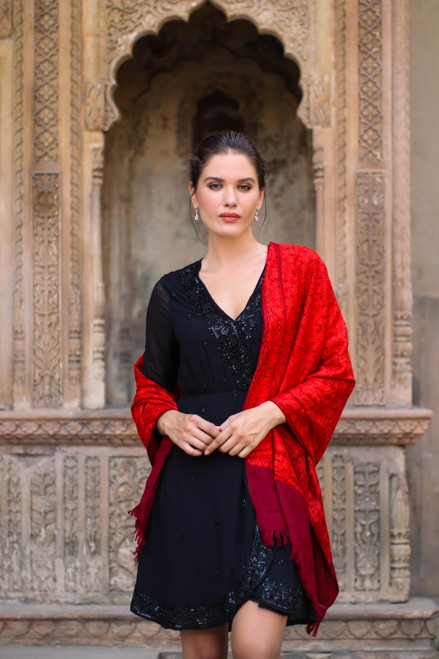 Red Embroidered 100 Wool Shawl from India 'Ruby Romance'