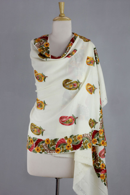 Embroidered Paisley Wool Shawl from India 'Paisley Perfection'