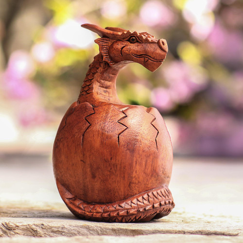 Hand Carved Suar Wood Balinese Dragon Sculpture 'Hatchling Dragon'