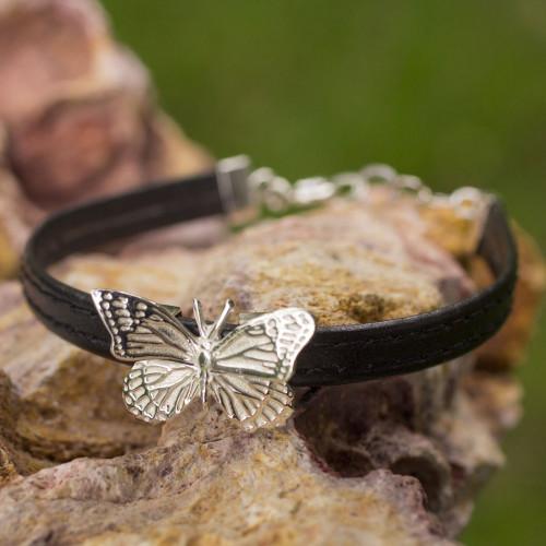 Handmade Sterling Silver on Black Bracelet Taxco Jewelry 'Monarch Butterfly'