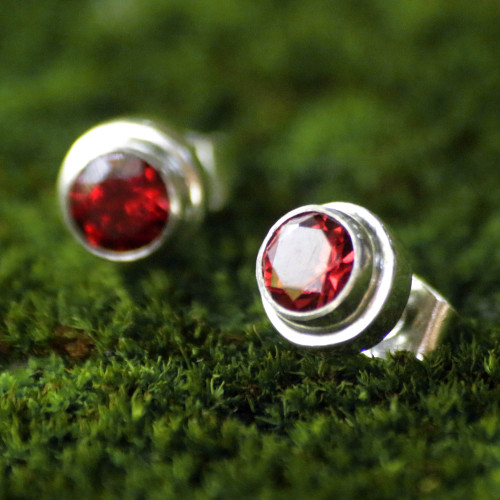 Genuine Garnet and Sterling Silver Stud Earrings from Bali 'Red Simplicity'