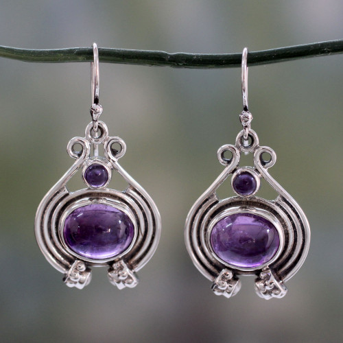 Unique Amethyst, Pearl and Sterling Silver Earrings 'Twilight Glow'