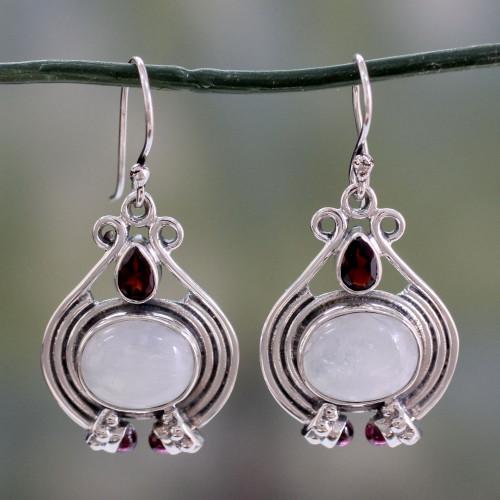 Handmade Rainbow Moonstone and Garnet Earrings 'Mysterious Mist'