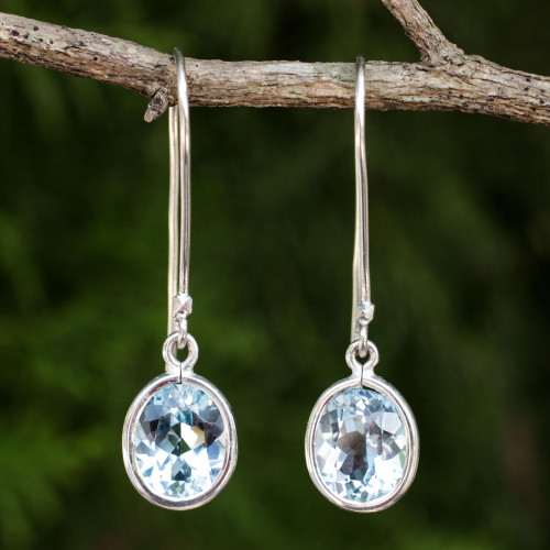 Sterling Silver and Blue Topaz Dangle Style Earrings 'Autumn Sky'