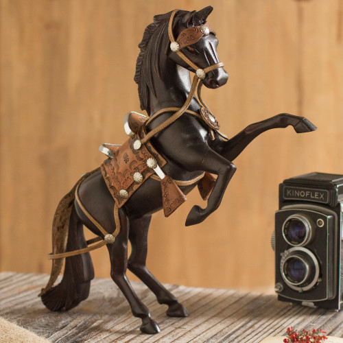 Cedar and Leather Horse Sculpture Carved by Hand 'Proud Horse'