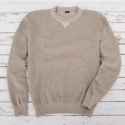 Men's Beige Cotton Pullover Sweater from Guatemala 'Sporting Elegance'
