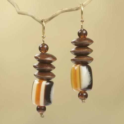 Wood Beaded Dangle Earrings Artisan Crafted Jewelry 'Edinam'