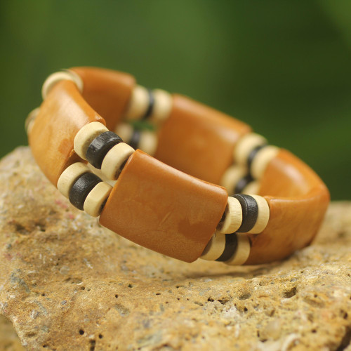 Recycled Plastic Wood Eco Friendly Bracelet from Africa 'Butterscotch Connection'