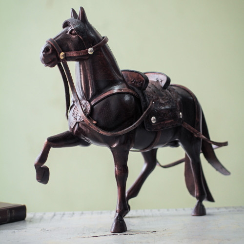 Hand Carved Peruvian Paso Horse Cedar Wood Sculpture 'Peruvian Walking Horse'