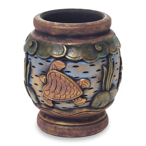 Turtle Hand Carved and Painted Small Wood Decorative Vase 'Turtle Oasis'