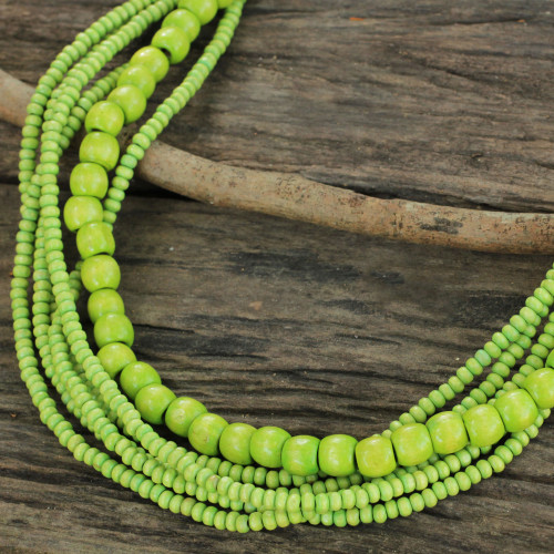 Long Multi Strand Bright Green Beaded Wood Necklace 'Oasis Dance'