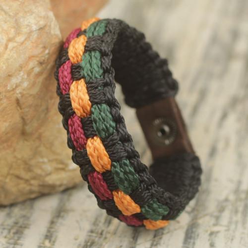 Colorful Woven Cord Wristband Bracelet for Men from Ghana 'Genesis'