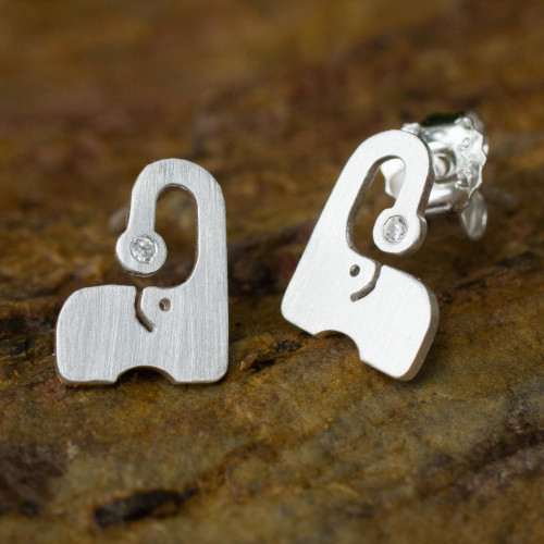 Thai Brushed Silver Elephant Button Earrings with CZ 'Elephants Sparkle'
